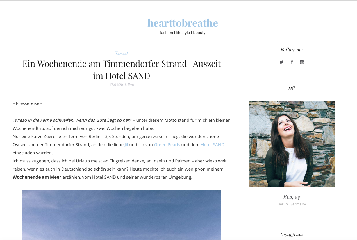 Eva von Heart to Breathe im Lifestylehotel SAND