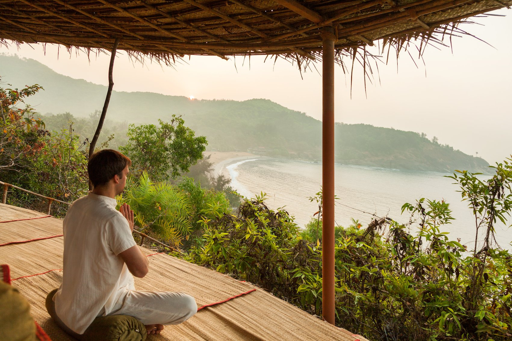 Meditation with a view on the sea at SwaSwara.