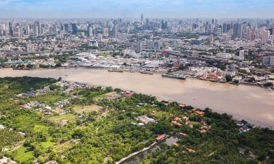 Aerial View of Bangkok skyline, Chao Phraya River View and Bang Krachao