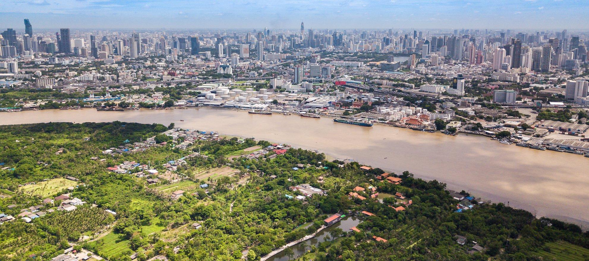 Aerial View of Bangkok skyline, Chao Phraya River View and Bang Krachao