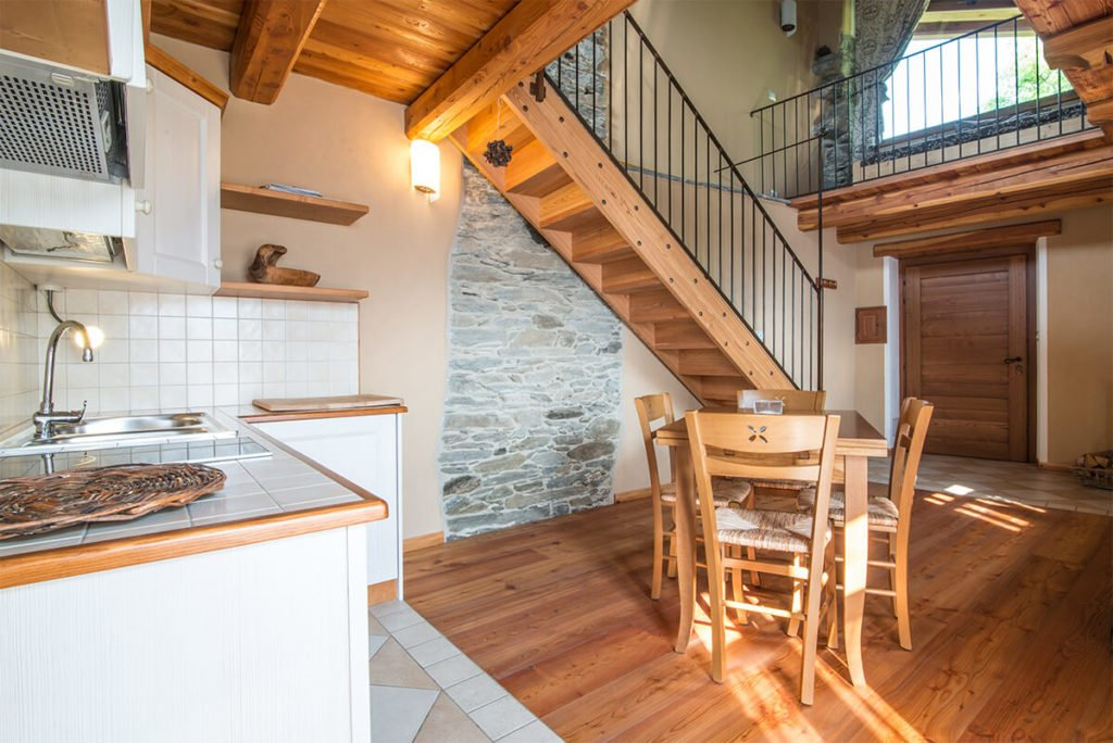 Kitchen and view on the second floor in Civico 9, Sagna Rotonda