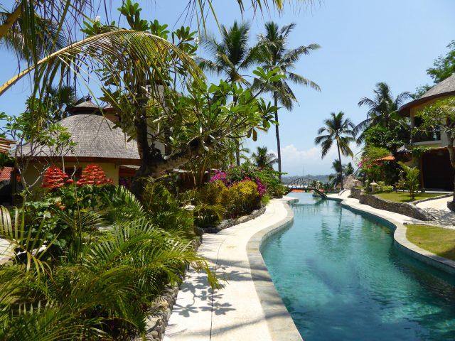 Pool at the eco-resort Puri Dajuma Cottages and Spa on Bali