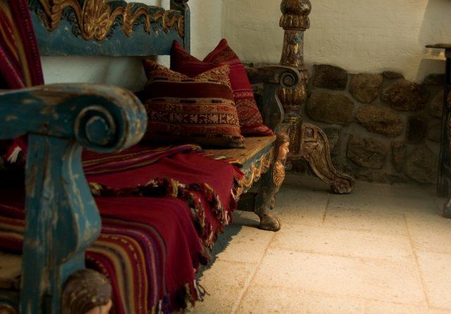 Traditional Peruvian weaved blankets, Inkaterra La Casona