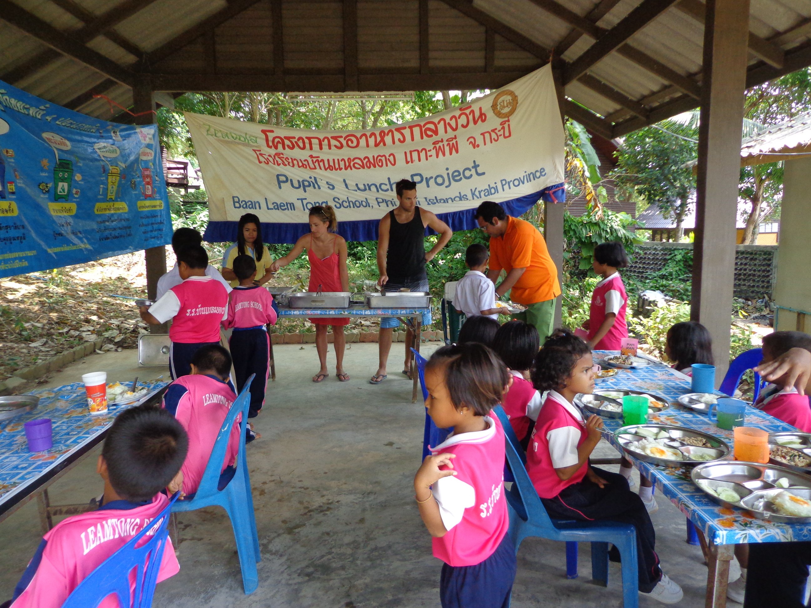 Serving lunch at the school close to Zeavola Resort